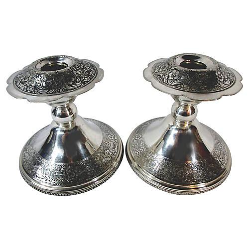 Silver-Plate Candlesticks, Pair