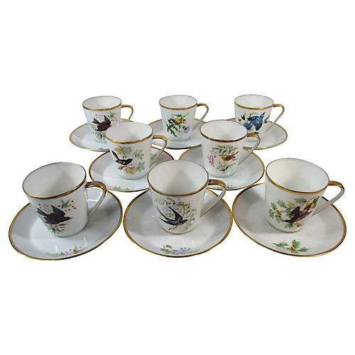 Dresden Bird Cups & Saucers, S/8