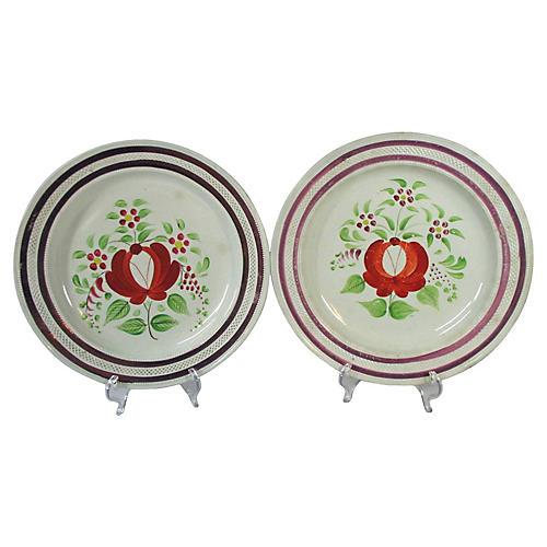 1830s English Lusterware Plates, Pair