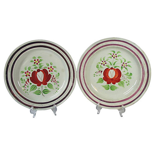 1830s English Lusterware Plates, Pair