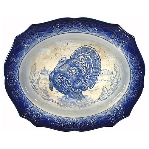 Flow Blue Large Turkey Platter