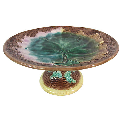 Etruscan Majolica Grape Leaf Pedestal
