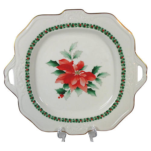 Poinsettia Handled Serving Plate