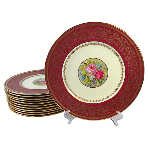 Heavy Gold & Floral Dinner Plates, S/12