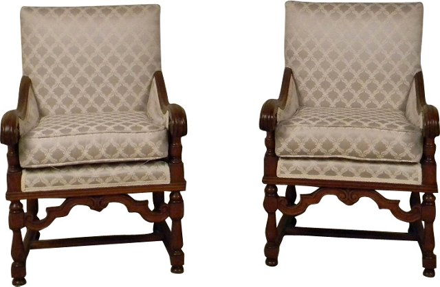 Louis XIV-Style Armchairs, Pair