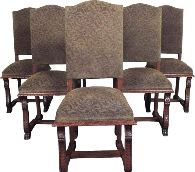 Baroque-Style Dining Chairs, S/6