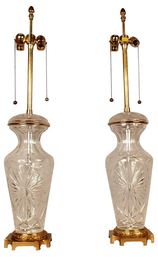 Cut-Glass Lamps, Pair