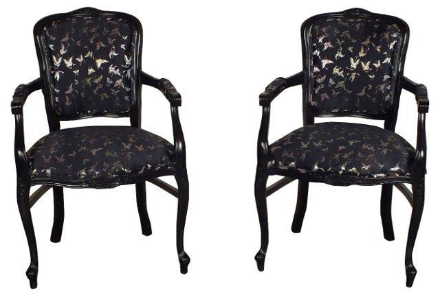 Black Lacquered Armchairs, Pair