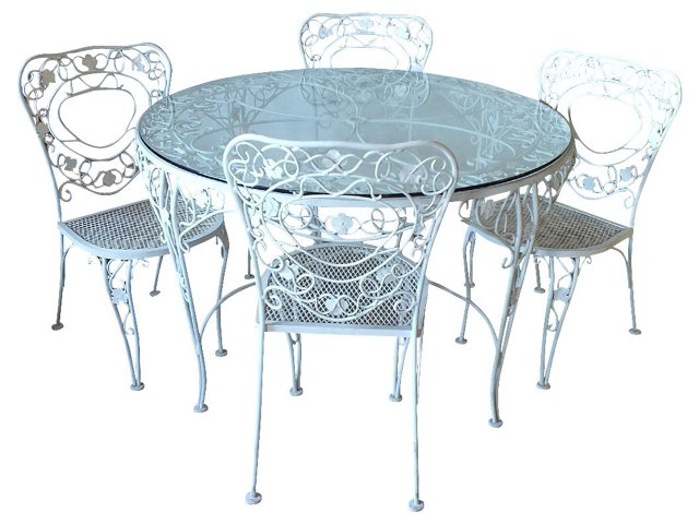 Iron Patio Table & 4 Chairs