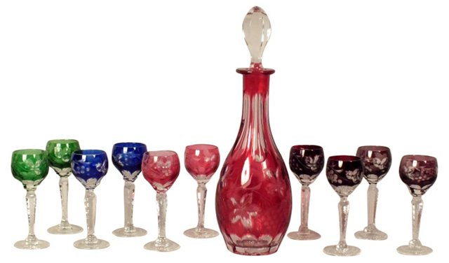Cut Glass Decanter & 10 Cordials