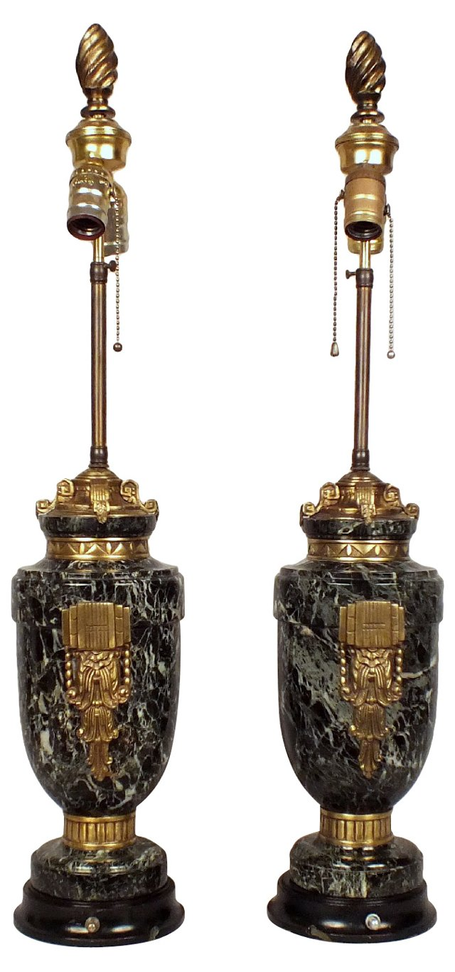 Green Marble Urn Lamps, Pair