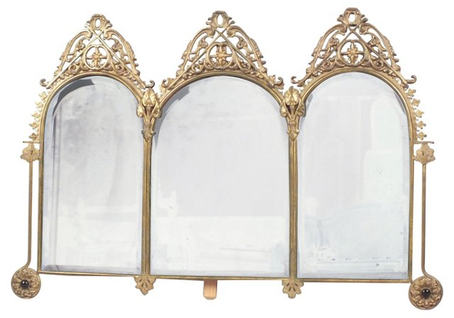 Brass 3-Panel Table Mirror