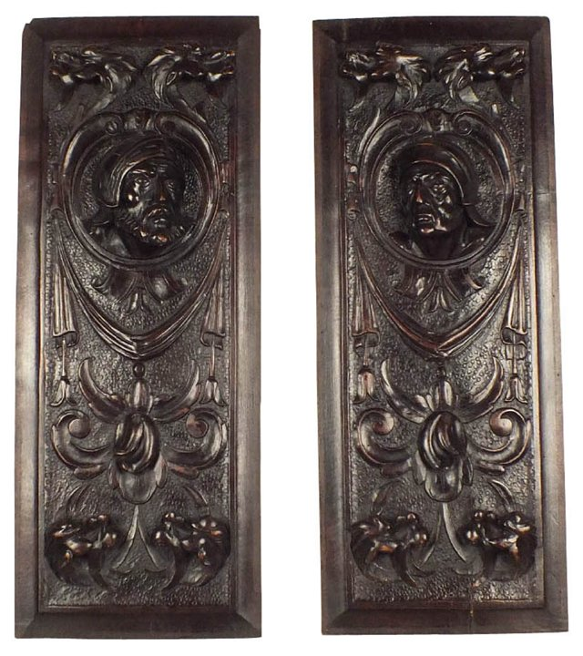 French Carved Panels, Pair