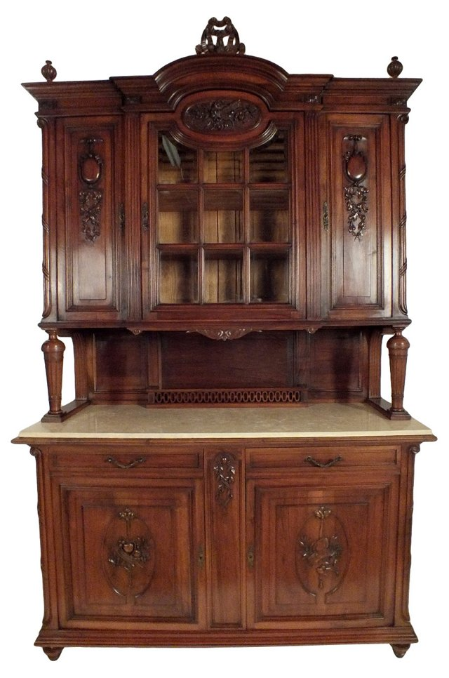 Louis XVI-Style Marble Top Buffet
