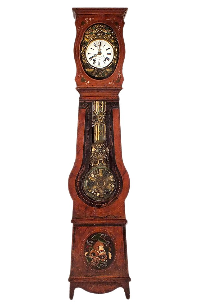 Hand-Painted Grandfather Clock, C. 1870