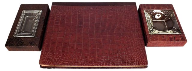 Crocodile Leather Desk Set, 3 Pcs