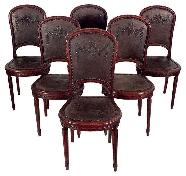 Engraved Leather Dining Chairs, S/6
