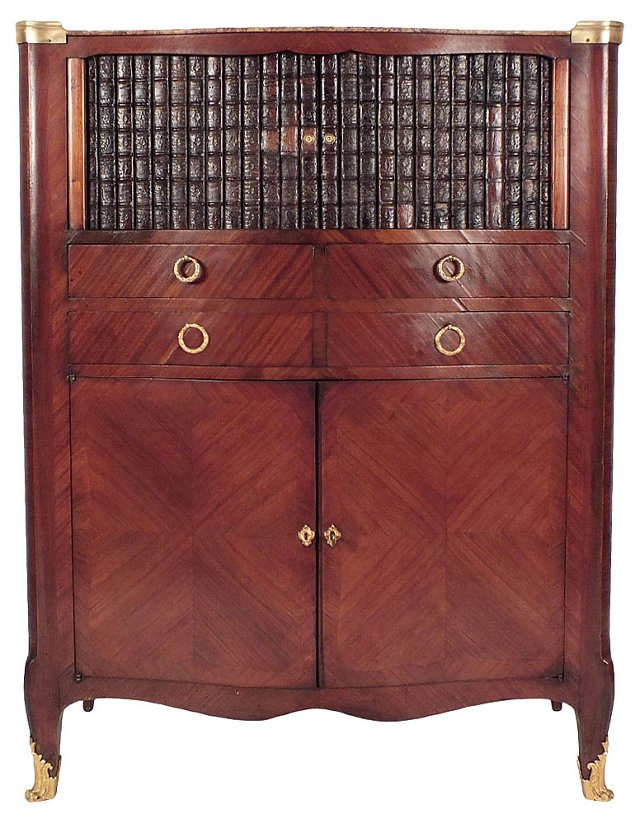 French Cabinet w/ Faux-Book Detail