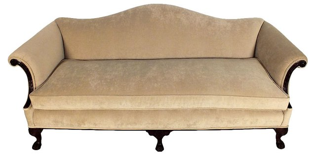 Antique Mahogany Sofa w/ Velvet