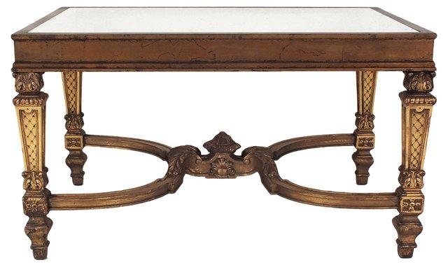 Glass-Top Giltwood   Table