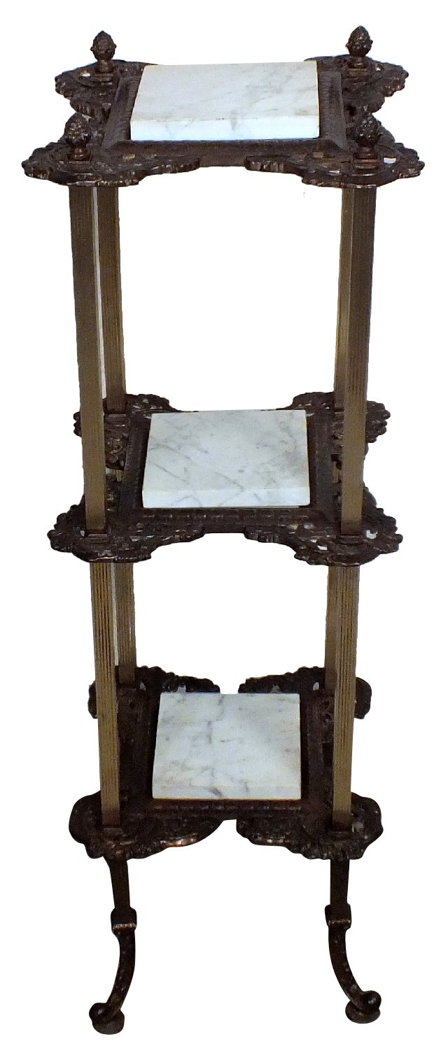 Brass & Marble 3-Tier Table