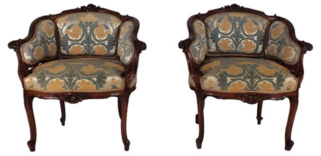 Antique French  Armchairs, Pair