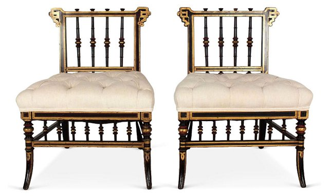 Antique French Low Side Chairs, Pair