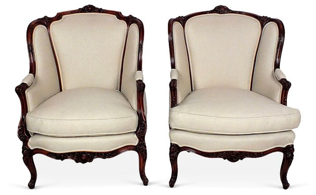 Antique French Wingbacks, Pair