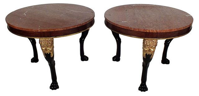 Round Marble-Top  Tables, Pair
