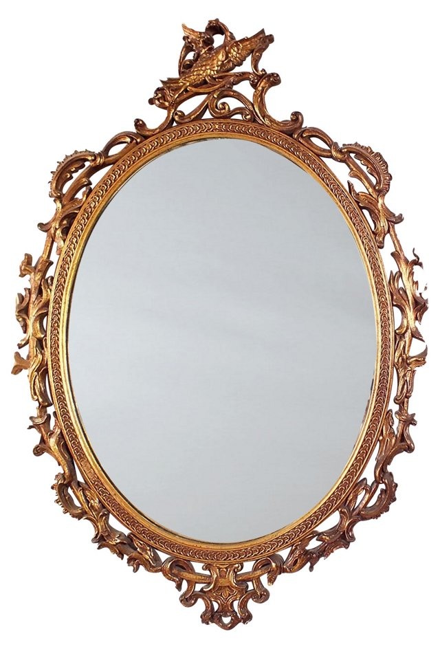 Oval Carved-Wood Mirror