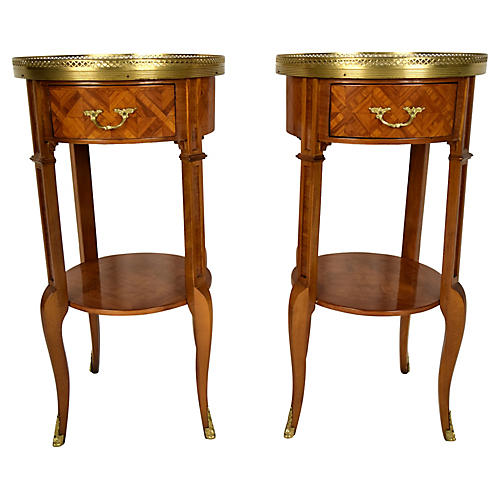 1970s French Inlaid Side Tables, Pair