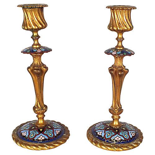 Bronze Champleve Candlesticks, S/2
