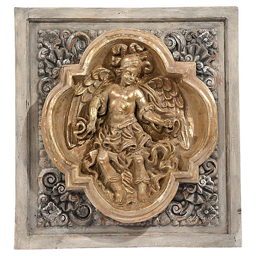 Italian Baroque-style Carved Wall Plaque
