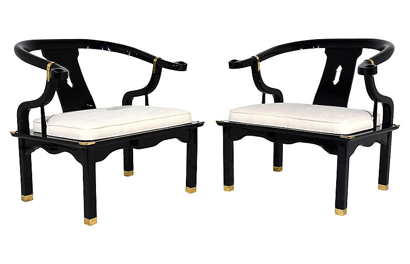 Modern-Style Horse Shoe Armchairs, Pair