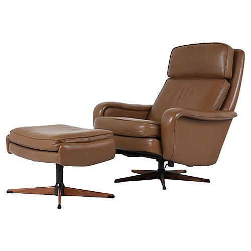 Ostervig Leather Lounge Chair & Ottoman