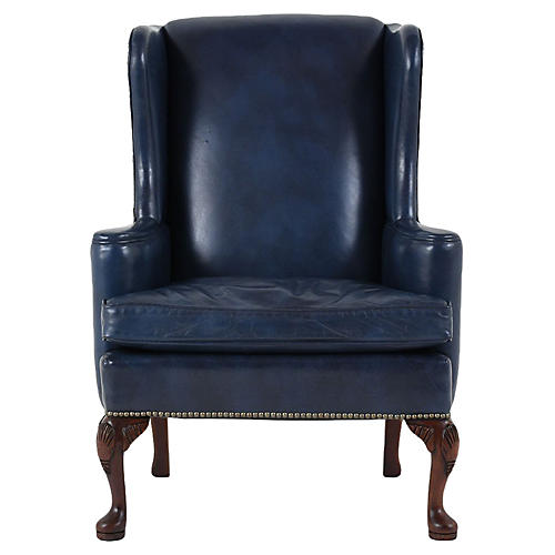 Regency-style Wing Back Leather Chair