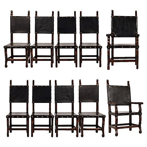 Set of 10 Spanish Colonial Dining Chairs