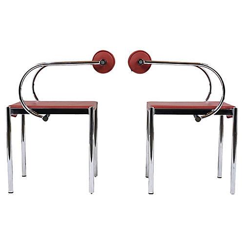 Pair of Mid-C. Modern Chrome Armchairs