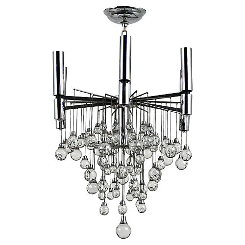 Modern Chrome & Crystal Chandelier