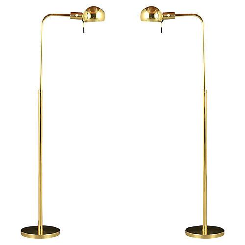 Modern-Style Brass Floor Lamps, Pair