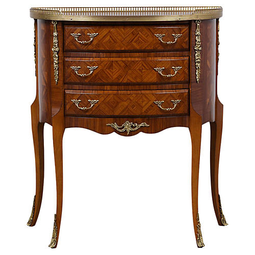 Marquetry Louis XVI Demilune Side Table