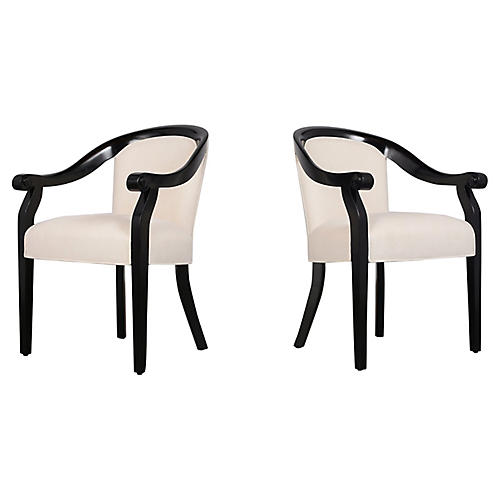 Pair of Lacquered Armchairs by Hickory