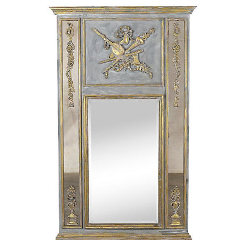 French Louis XVI Gilt Painted Trumeau