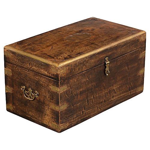 Antique English Wood & Brass Coffer