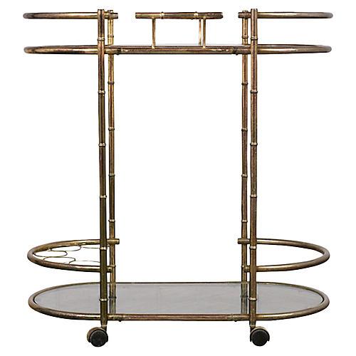 Vintage Bamboo Style Bar Cart