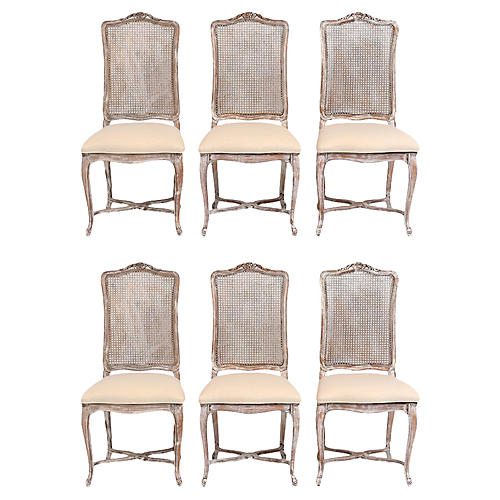 Louis XV Style Painted Dining Chair Set