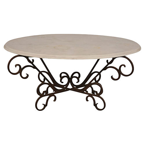 Vintage Wrought Iron Patio Coffee Table