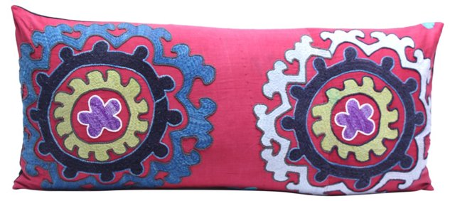 Handwoven Red Suzani Pillow