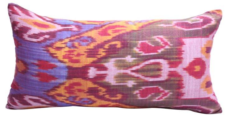 Handwoven Natural-Dyed Ikat Pillow