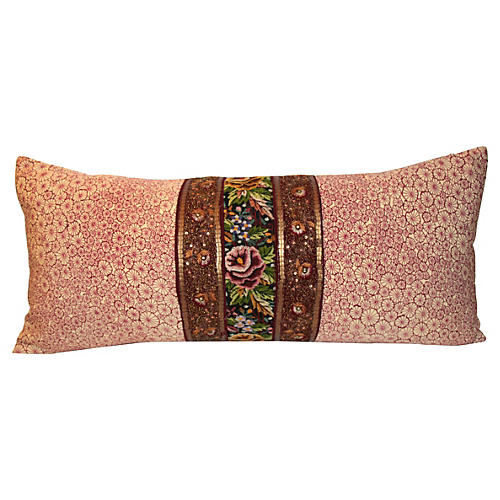 Plum Poppy Flower Pillow